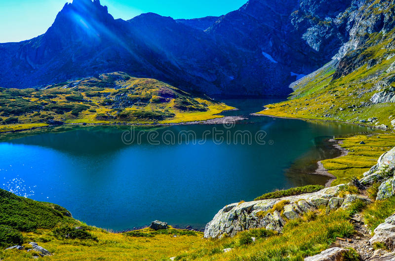 Lake Twin , One of the famous seven lakes in mountain Rila, Bulgaria royalty free stock image