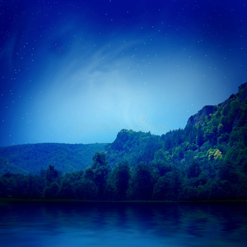 Lake under the stars stock photography