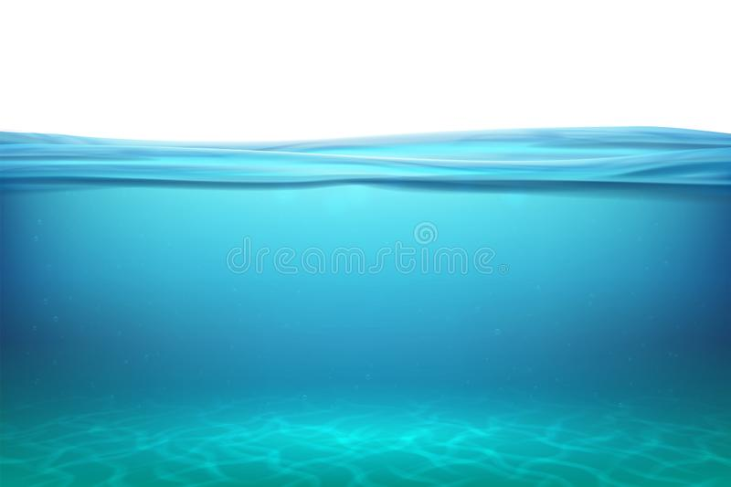 Lake underwater surfaces. Relax blue horizon background under surface sea, clean natural view bottom pool with sun rays stock illustration