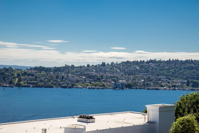 Lake Union from rooftop. View from rooftop of Lake Union Seattle Washington royalty free stock images