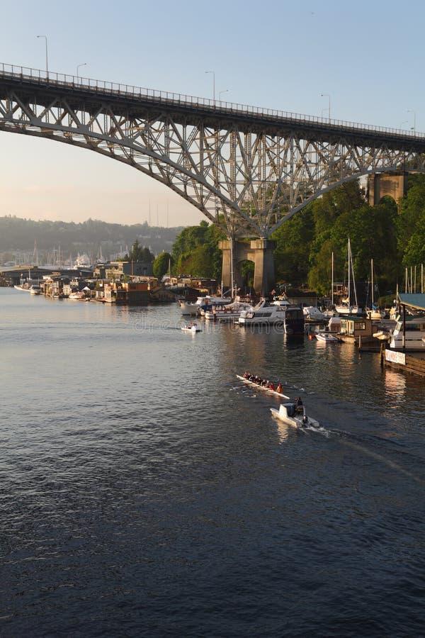 Lake Union Rowing Practice, Seattle, Washington Editorial Image