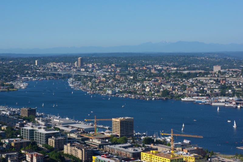 Seattle Cityscape Lake Union University of Washington stock photo