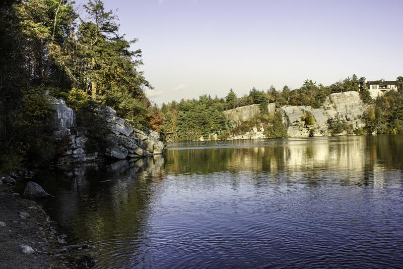 Lake in upstate new york. Ripples on a lake in upstate new york with mountains and trees stock photography