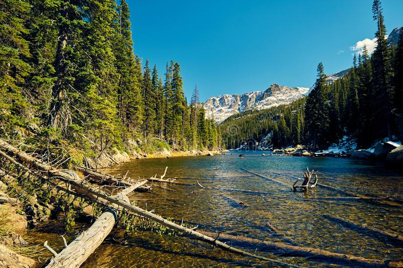 Lake Verna, Rocky Mountains, Colorado, USA. Lake Verna with rocks and mountains around at autumn. Rocky Mountain National Park in Colorado, USA royalty free stock photography