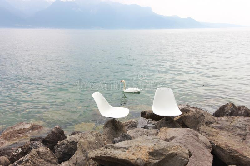Lake vevey and mountain views in Switzerland stock image