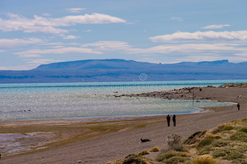 Lake Viedma with people. Lake Viedma in Argentina with people royalty free stock photography