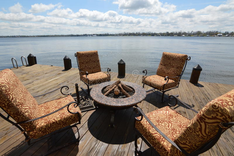 Lake View From the Deck. Relax on the deck overlooking the water royalty free stock photo