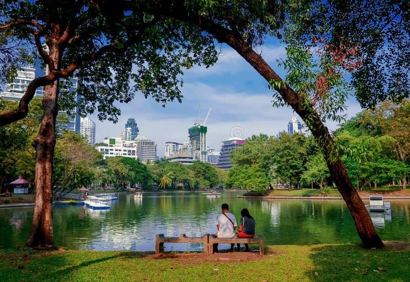 Lake view of Lumpini Park in Bangkok royalty free stock images