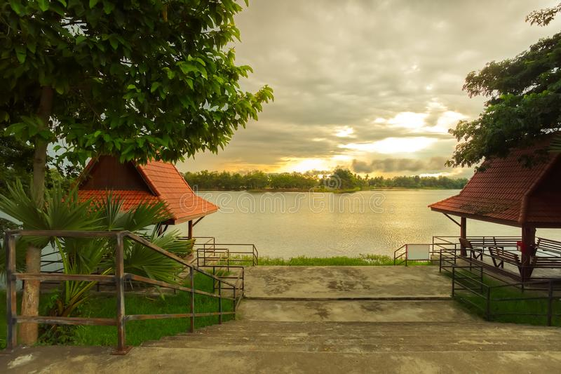 Lake view in the morning time, Sukhothai, Thailand. Lake view in the morning time in Sukhothai province, Thailand royalty free stock image