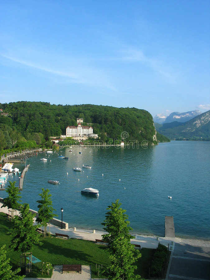 Lake view with mountains (Annecy) royalty free stock images