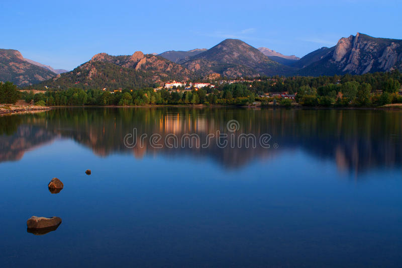 Lake With View of Mountains in Estes Park, Colorado. Lake Estes in Estes Park, Colorado the gateway to Rocky Mountain National Park royalty free stock photography