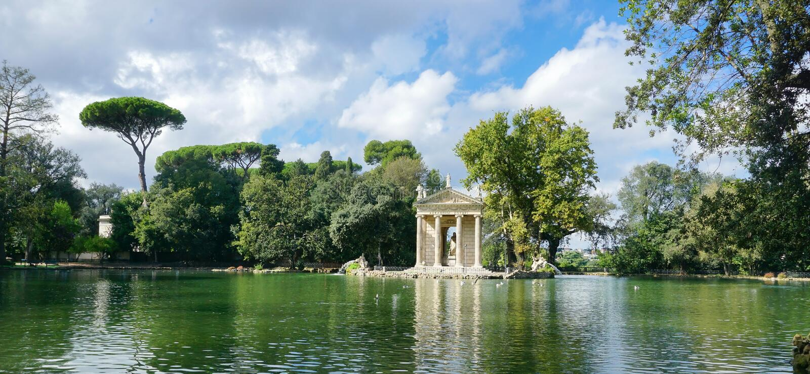 The lake of Villa Borghese, the temple of Aesculapius stock photos