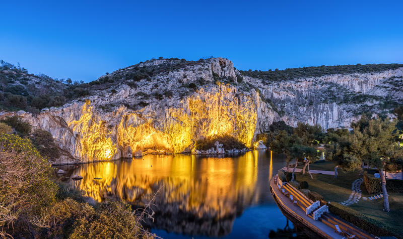 Lake Vouliagmeni in south Athens, Greece. Just after sunset royalty free stock photos