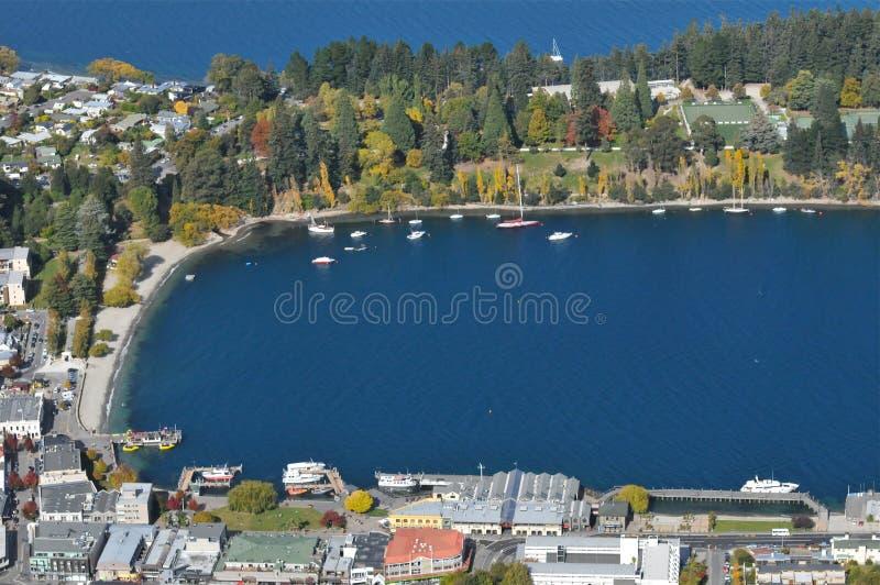 Lake Wakatipu, Queenstown. Lake Wakatipu close up from top view, Queenstown, New Zealand royalty free stock image