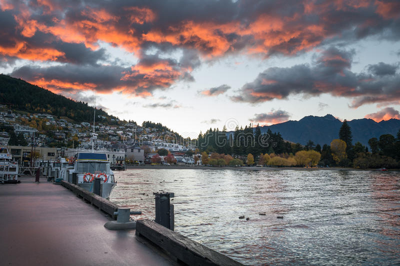 Lake Wakatipu at Queenstown with dramatic morning sky, New Zealand royalty free stock images