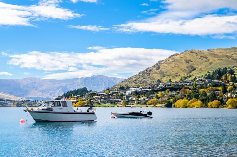 Lake Wakatipu in Queenstown, New Zealand. Lake Wakatipu which is located in Queenstown, New Zealand royalty free stock photography