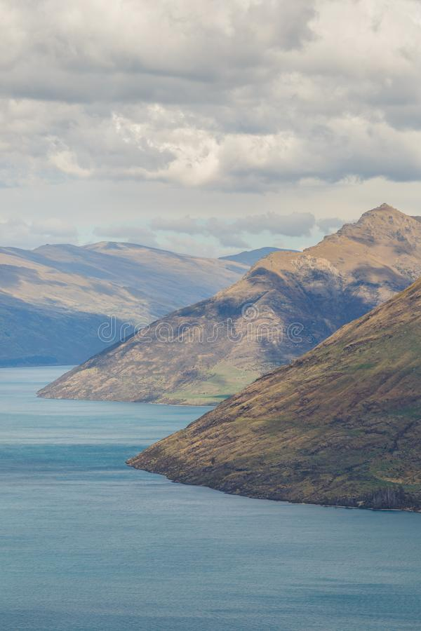 Lake Wakatipu in Queenstown at sunrise royalty free stock images