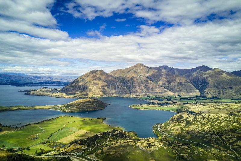 Arial view of Lake Wanaka in New Zealand stock photography