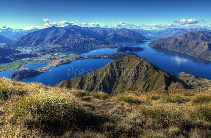 Lake Wanaka panorama, New Zealand royalty free stock image