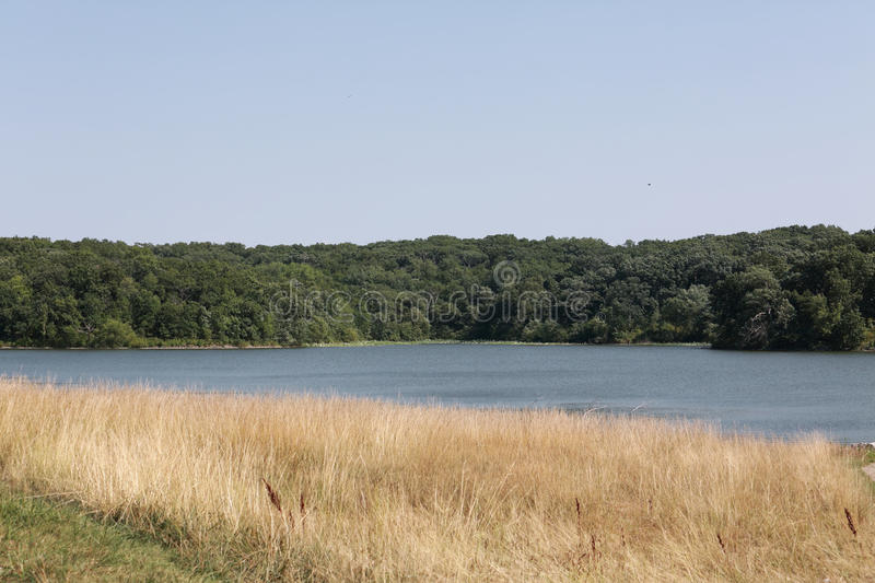 Lake Wapello State Park, Iowa. Lake Wapello State Park in Iowa, two shores of the lake with golden grasses on one shore and green trees with flowers and grass on stock photo