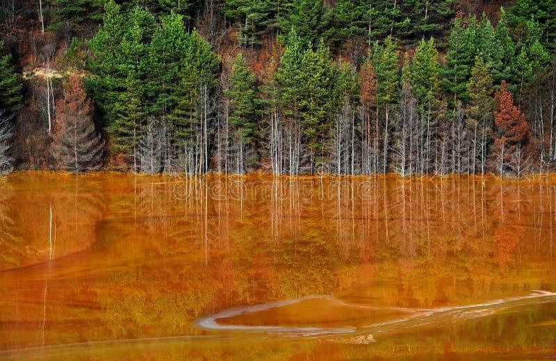 Lake water contamination in Geamana, near Rosia Montana, Romania. Copper mine water contamination in Geamana, near Rosia Montana, Romania stock image
