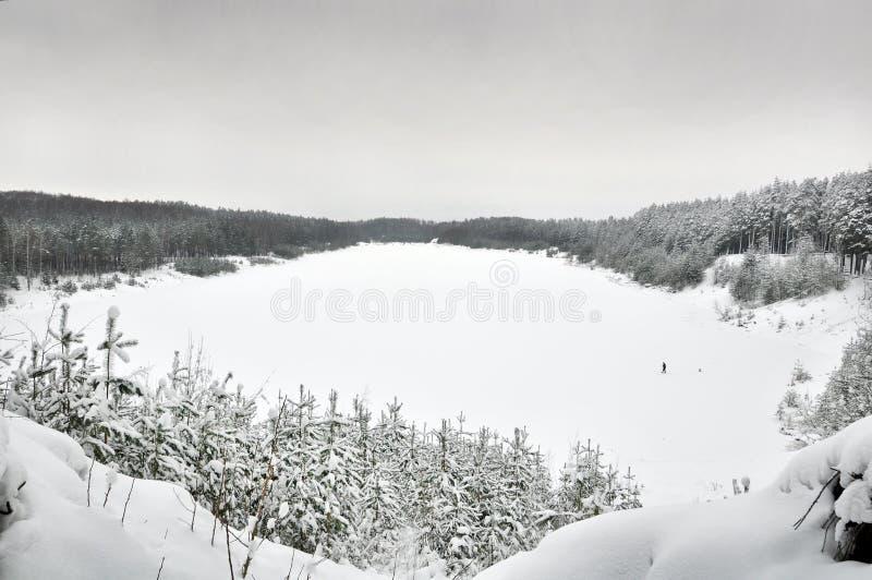 Lake in winter stock photo