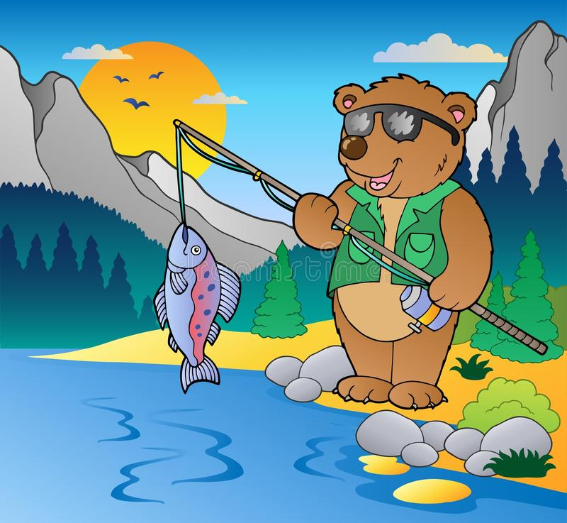 Free Lake With Cartoon Fisherman 2 Royalty Free Stock Photos - 20108538