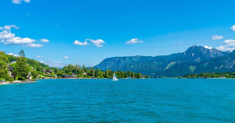 Wolfgangsee lake, Austria. Lake Wolfgangsee in the Salzkammergut resort region, Austria stock photography