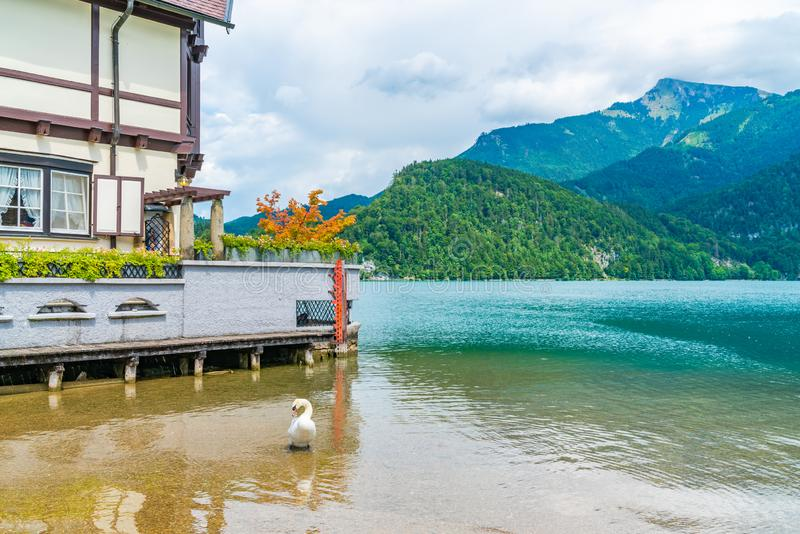 View of Wolfgangsee lake in St. Gilgen. Lake Wolfgangsee in St. Gilgen in the Salzkammergut resort region, Austria stock photography