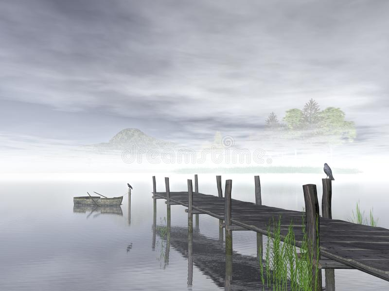 Lake and wood dock on in late afternoon, 3d rendering. Lake, boat, grass, seagulls and wood dock on in late afternoon, 3d rendering stock illustration
