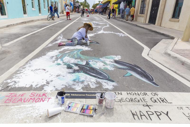 Lake Worth, Florida, USA Fab 23-24, 2019 25Th Annual Street Painting Festival stock image