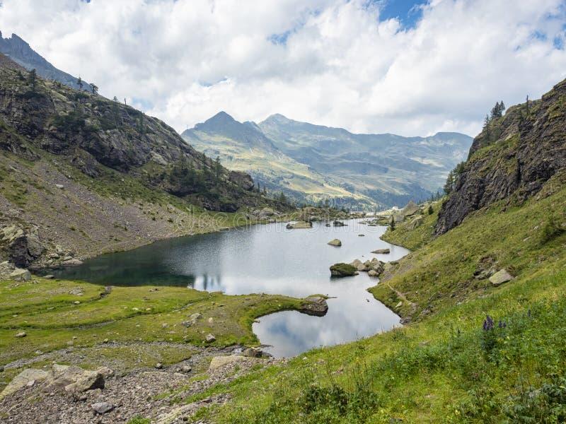 Lake Zancone in the italian alps. In Val Gerola stock photo