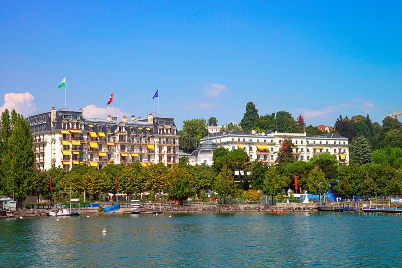 Lakefront av Genève sjön i Genève royaltyfri bild