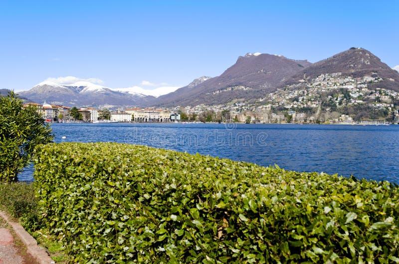 Lakefront av Lugano - Schweitz royaltyfria foton