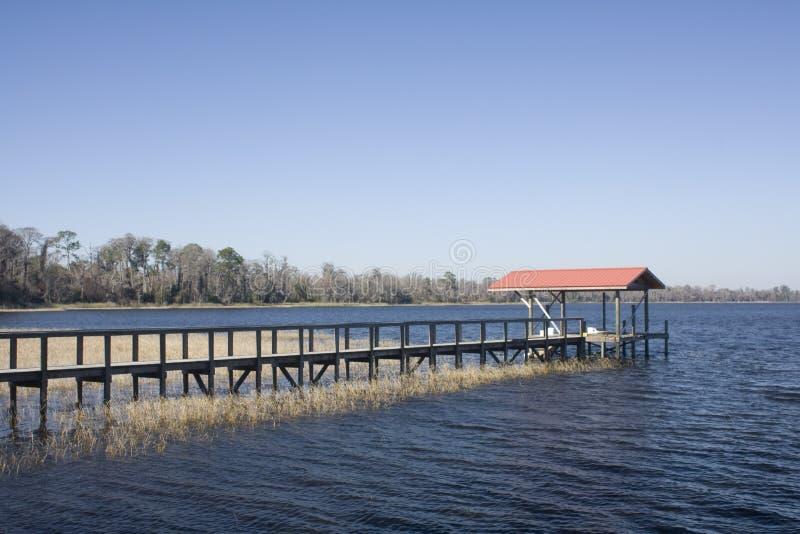 Lakefront Boat Dock Stock Image