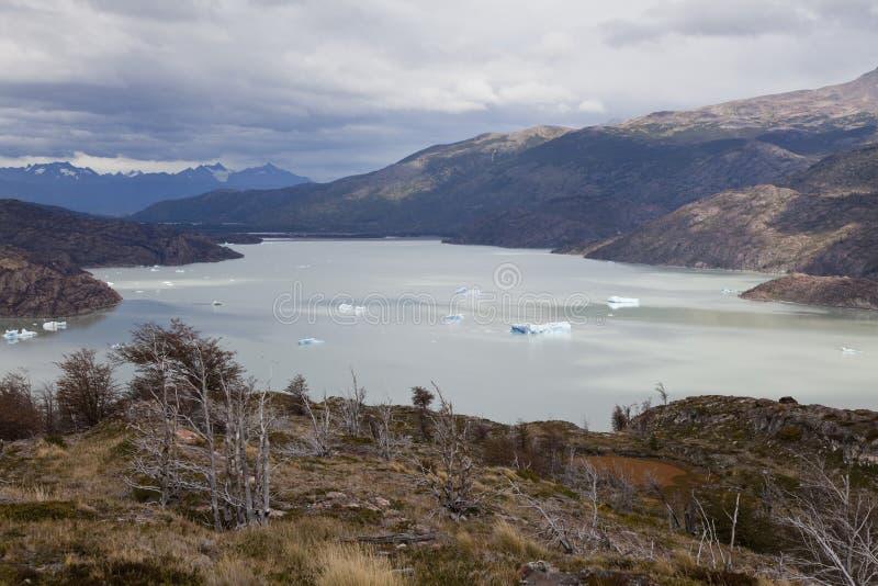 Lakegrå färg på Torres del Paine arkivbilder