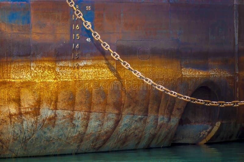 Bow detail of Great Lakes ship. Great Lakes Laker ship docked at Toronto Harbor royalty free stock image