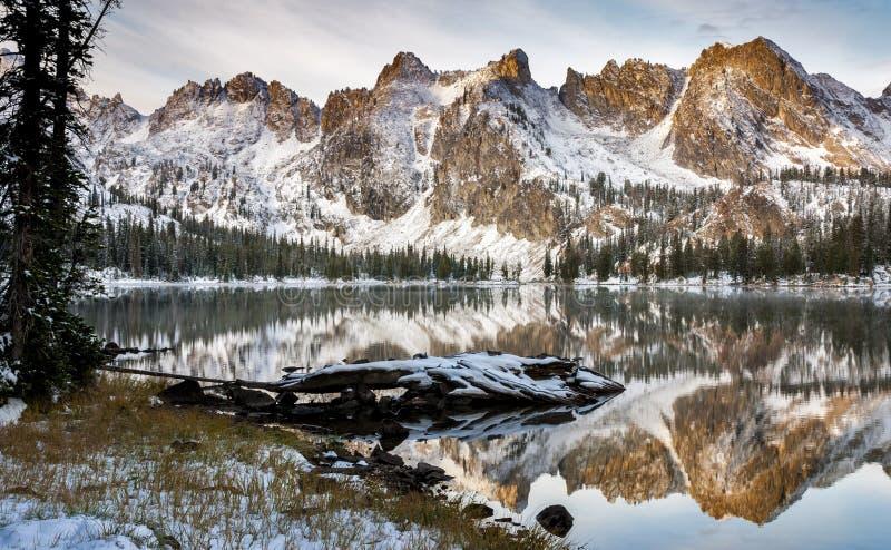 Lakereflexion av berg och journalvintern arkivbild