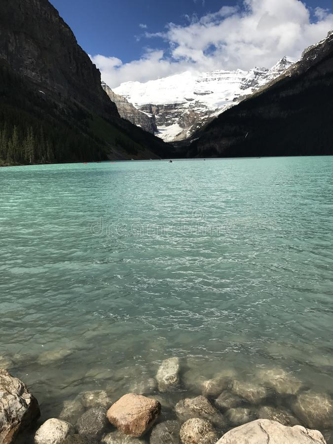 Lakes Louise. Lake Louise is a glacier lake in Canada stock image