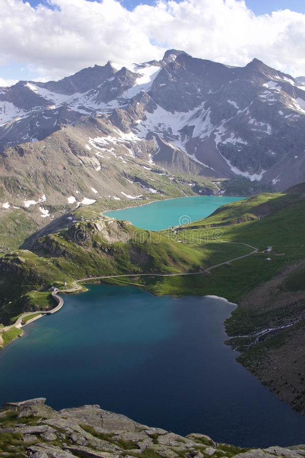 Lakes from a mountain pass stock image