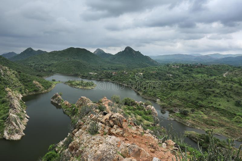 Lakes and mountains of Rajasthan with blue sky stock photography
