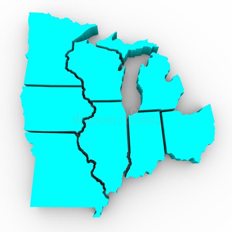 Lakes-Region der Zustände - Karte 3d lizenzfreie abbildung