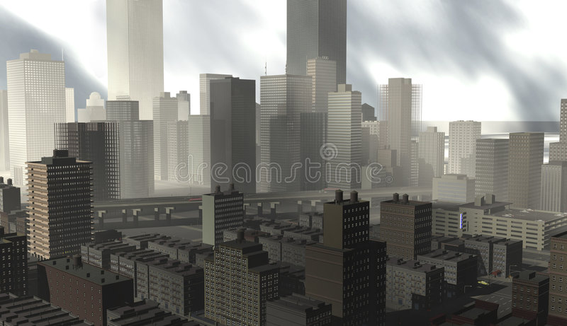 Download Lakeside City Squalls And Haze Stock Illustration - Image: 7034117