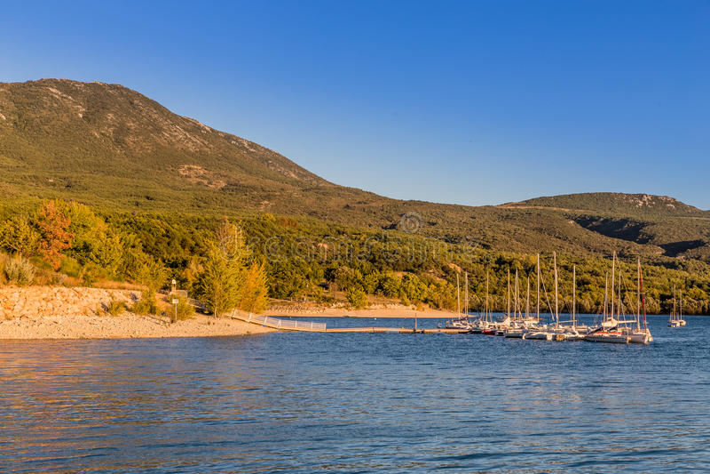 Lakeside de coucher du soleil de Sainte Croix du Verdon During photo stock