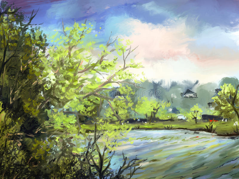Download Lakeside - Digital Painting Stock Illustration - Illustration: 25681851