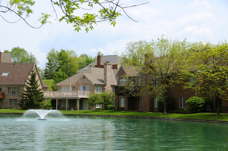 Download Lakeside Homes stock image. Image of architecture, nature - 5586437