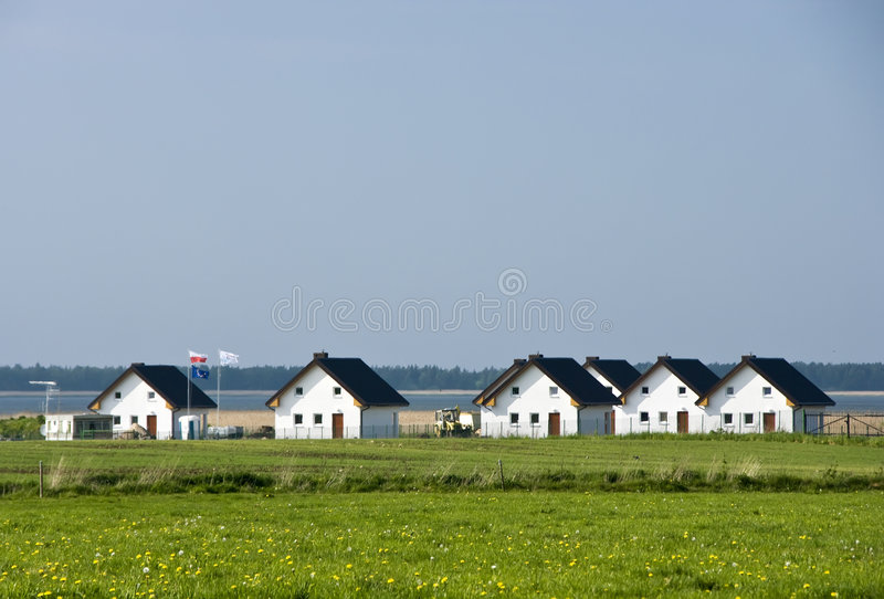 Lakeside houses stock image