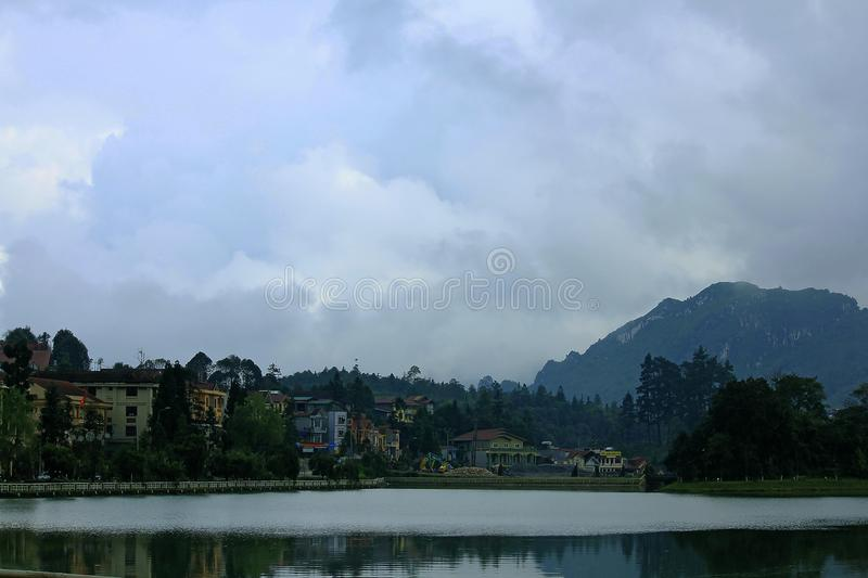 Lake in the town of Sapa royalty free stock photo