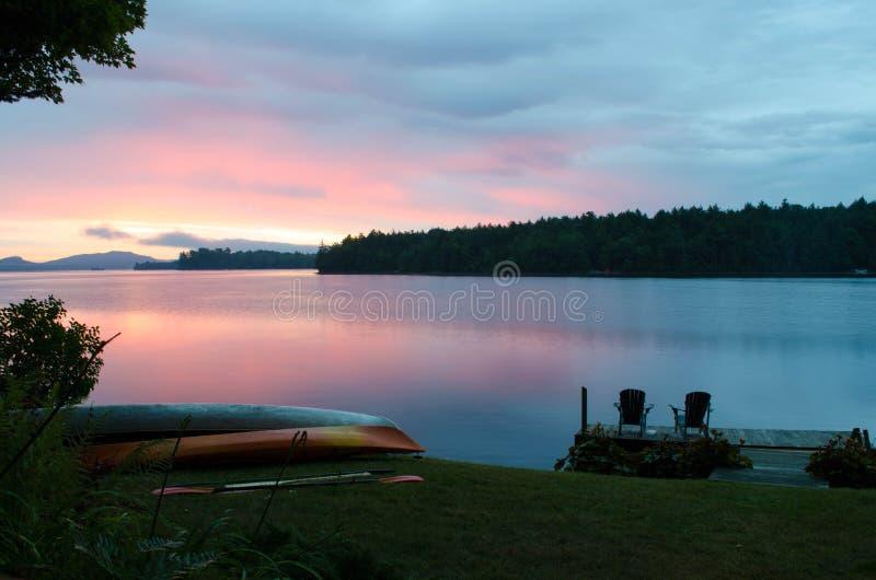 Lakeside scene in the Adirondacks royalty free stock image