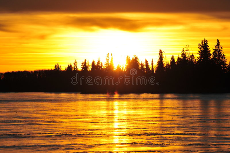 Lakeside sunset royalty free stock images